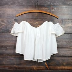 boho chic off the shoulder crop top | white                                                                                                                                                     More