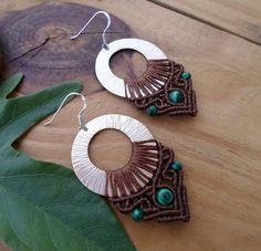 Malachite macrame earrings hoop earrings micro by SelinofosArt