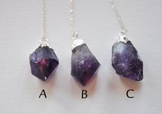 Raw Amethyst Electroplated Dipped Rock  Sterling by FawningInLove, $40.00