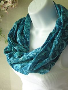 Turquoise Infinity Scarf in Cotton Batik with Blue, Aqua, Teal Floral Batik Single Loop Design Handmade Summer Fashion by Thimbledoodle. $18.00, via Etsy.