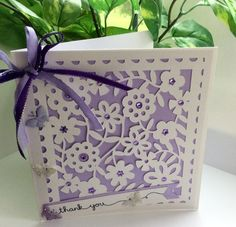 Thank you card. Handmade many thanks. Just thinking. Paper it style card. Purple back drop. by evescrafts on Etsy