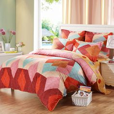 Free Shipping!Mercury Home Textile 100% Cotton Sanding Bedding Set With 4pcs Duvet Cover Bed Sheet Afternoon Tea Time