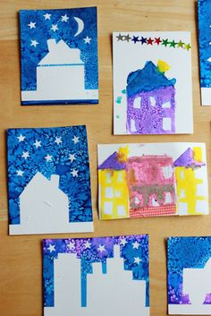 This sticker resist art project for kids is a fun way to combine collage with painting to create nighttime scenes with houses, skyscrapers, cars and more.