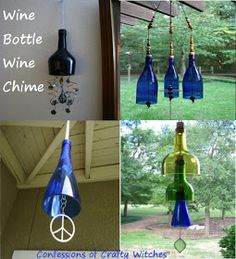 "Not exactly a ""tree"", but a blue botle project just the same. ecycle Reuse Renew Mother Earth Projects: How to make wine bottle wind chime"
