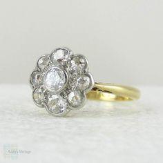 Antique Diamond Daisy Engagement Ring, Floral Shape Old Mine Cut & Old European Cut Vintage Diamond Flower Ring in 18 Carat, Platinum.