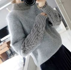 Cheap turtleneck sweater, Buy Quality fur sweater directly from China 2015 autumn Suppliers: 2015 autumn and winter vintage twisted all-match basic turtleneck sweater rabbit fur sweater pullover female thickening Loose Knit Sweaters, Long Sweaters, Pullover Sweaters, Sweaters For Women, Knitting Sweaters, Casual Sweaters, Knit Fashion, Sweater Fashion, Moda Crochet