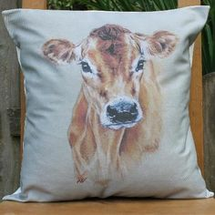 Country Living / Nic Vickery Animal Artist / Jersey cow cushion cover
