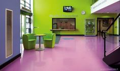 Natural linoleum floor covering / colored / colored concrete look / sound-absorbing COLORETTE PUR  Armstrong DLW