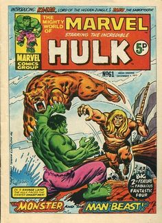 Mighty World of Marvel #61. Ka-Zar and Zabu vs The Hulk. #MightyWorldOfMarvel #KaZar #Hulk