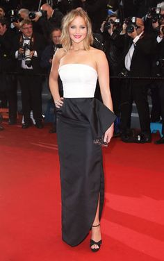 Jennifer Lawrence The face of Dior wore a black and white gown by Christian Dior, naturally, Jimmy Choo heels, and Chopard jewels for the May 18 premiere of Jimmy P. at Cannes.