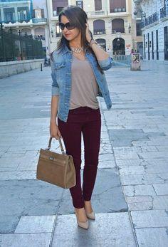 maroon pants.