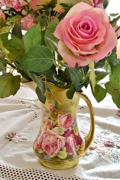 Roses - vintage pitcher - like having some leaves with the rose