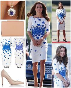 On to what Kate wore today! Today's series of engagements in Luton saw the Duchess repeat her beautiful poppy print LK Bennett 'Lasa' dress in 'Snorkel Blue' ($297). Kate debuted the dress in Queensland, Australia on the NZ/Aus tour in 2014 but with different accessories. The 'Lasa' dress also comes with red poppies. While the two versions are still visible on the website, all sizes are currently out of stock. However, for the meantime, there is the very similar 'Lara' version in cornflower…