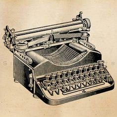 Printable Vintage Typewriter Illustration - Antique Graphic Instant Download of 1800s Typewriters. This beautiful and unique retro digital