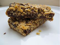 Homemade granola bars with brown rice syrup.