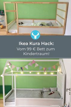 Ingenious Ikea hack to imitate: Ikea Kura bed with roof to build yourself – complete DIY instructions. Informations About Ikea Kura Hack: Ein Kinderbett mit Dach zum selber bauen Pin … Cama Ikea Kura, Ikea Kura Hack, Ikea Hackers, Kura Bed Hack, Ikea Hack Kids, Diy Hanging Shelves, Floating Shelves Diy, Diy Home Decor Projects, Diy Projects To Try