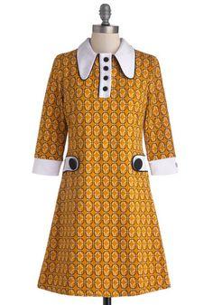Vinyl Fantasy Dress - Short, Knit, Yellow, Black, White, Print, Buttons, Casual, Mod, Sheath / Shift, 3/4 Sleeve, Better, International Desi...