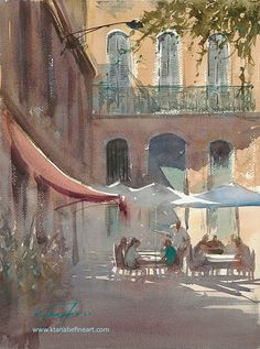 """Marseille Café, France IV"" watercolor by Keiko Tanabe"
