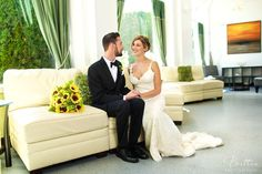 Bride and Groom in the lounge area of the Monte Cristo Ballroom.