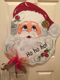 Santa Door Decoration - hand painted and can be your in time for Christmas. Click to order, $50 including shipping.