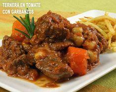 ternera con tomate y garbanzos