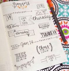 Banner headers for bullet journals and journals