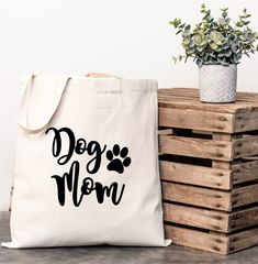 Wedding Gifts For Guests Gift for those crazy dog lovers in your life! Bag Quotes, Diy Tote Bag, Custom Tote Bags, Dog Bag, Custom Wedding Gifts, Personalised Canvas, Cat Dog, Fabric Bags, Cloth Bags