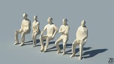 General This is a pack of 5 3d models of lowpoly sitting people. These were…