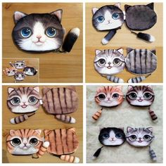 Head Meow Big Face Small Tail Cat Cartoon Cat Zero Wallet Coin Bag With Zippers
