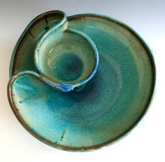 chip and dip ceramic dish by Kazem Arshi
