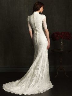 A-Line Lace Wedding Dress With 3/4 length sleeve