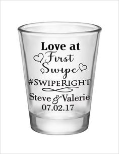 Wedding Favors - Tinder Romance Love at First Swipe - Glass Shot Glasses Personalized Wedding Favor Ideas by on Etsy Wedding Games, Wedding Tips, Diy Wedding, Dream Wedding, Wedding Day, Wedding Dreams, Wedding Bells, Wedding Stuff, Wedding Favours Shots
