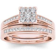Imperial 1/2 Carat T.W. Diamond 10kt Rose Gold Square-Shape Cluster Engagement Ring Set, Women's, Size: 7.5