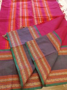 Pinkish Maroon Pure Kanchi Cotton saree with Thread woven Border and Pallu With Running Blouse