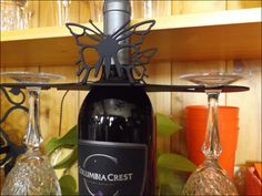 "Butterfly Wrought Iron ""Wine For Two"" Caddy 