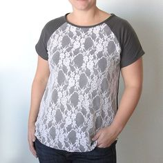 the easy tee {the anthropology lace front version + FREE raglanpattern}