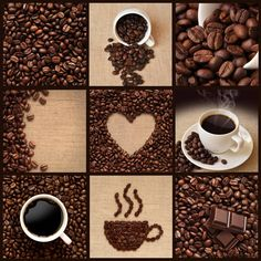 """"""" Description: """"This coffee collage is made up of of various images; from a coffee cup to coffee beans.The rich brown colors are highlighted against the burlap backdrop. Coffee Gif, I Love Coffee, Coffee Shop, Coffee Cups, Coffee Lovers, Burlap Backdrop, Coffee Theme Kitchen, Create Your Own Wallpaper, Fruits Images"""