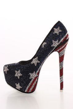 Red White and Blue Flag Heels. Flag Rhinestone Platform Pump Heels $60.99 #'Merica