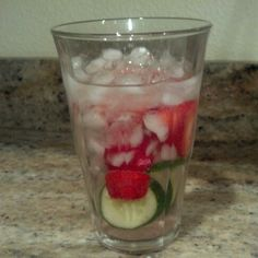 Strawberries and cucumber and ice water #hollyreece this is for you..