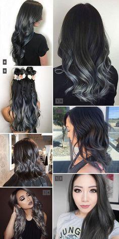 Charcoal hair trend: balayage, ombré, highlights. Tendência para o inverno 2017, o cabelo com cor de carvão, em tons de cinza é ótima opção para cabelos castanhos e pretos. #charcoalhair