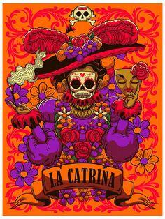 la catrina on Behance Mexico Day Of The Dead, Day Of The Dead Art, Mexico Art, Chicano Art, Chicano Tattoos, Mexican Folk Art, Skull Art, Art Sketchbook, Painting Inspiration