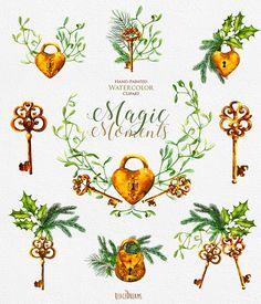 Christmas Сompositions of Golden Padlock Keys Mistletoe