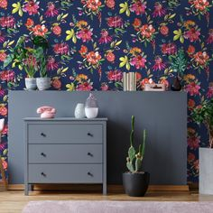 Punica is a modern take on a floral design with pomegranates, bold and bright colours highlighted by dotted metallic. 🌸🌟 Blush Pink Wallpaper, Bold Wallpaper, Tropical Wallpaper, Unique Wallpaper, Contemporary Wallpaper, Fabric Wallpaper, Pattern Wallpaper, Beautiful Wallpaper, Nature Wallpaper