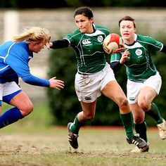 Ireland scrum half Tania Rosser is supported by Lynne Cantwell as she tries to break past Italy's Michela Este during Saturday's RBS Women's 6 Nations tie in Colleferro