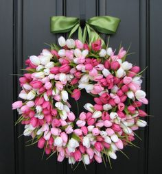 Spring Tulip Wreath Front Door Wreath Door por twoinspireyou
