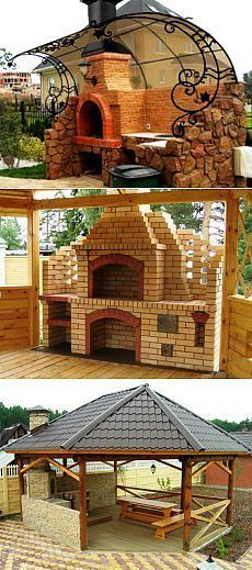 New backyard bbq patio pergolas Ideas Waterfall Landscaping, Pond Landscaping, Ponds Backyard, Landscaping With Rocks, Backyard Patio, Gazebos, Outdoor Oven, Backyard Kitchen, Outdoor Gardens