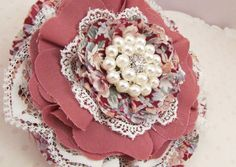 Fabric Flower, Vintage Style, Lace, Shabby Chic, Brooch, Wedding Sash, Hair Accessory, Home Decor, Pearl Embellishment, Fabric and Lace by StitchedBlossoms on Etsy
