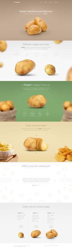 Webdesign inspiration Potato Landing Page on Behance Cool Web Design, Web Design Mobile, Web Ui Design, Food Design, Design Design, Website Design Inspiration, Landing Page Inspiration, Layout Web, Website Layout