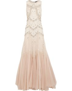Needle & Thread Embellished Dégradé Tulle Gown, Neutral, Women's, Size: 6