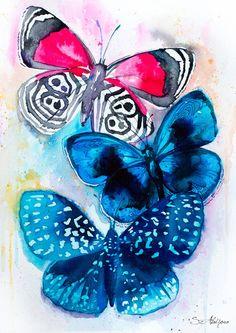Original Aquarelle peinture-papillons 3 illustration par SlaviART